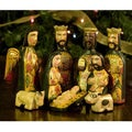 Set of 9 Pinewood 'Faithful' Nativity Scene (Guatemala)