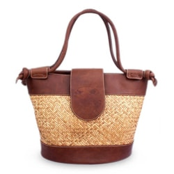 Palm and Leather 'Hunab Ku' Large Accent Handbag (Mexico)