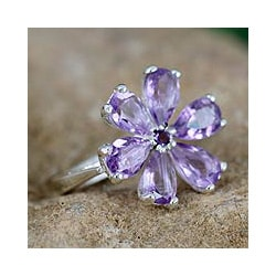 Sterling Silver 'Perfect Petals' Amethyst Floral Ring (India)