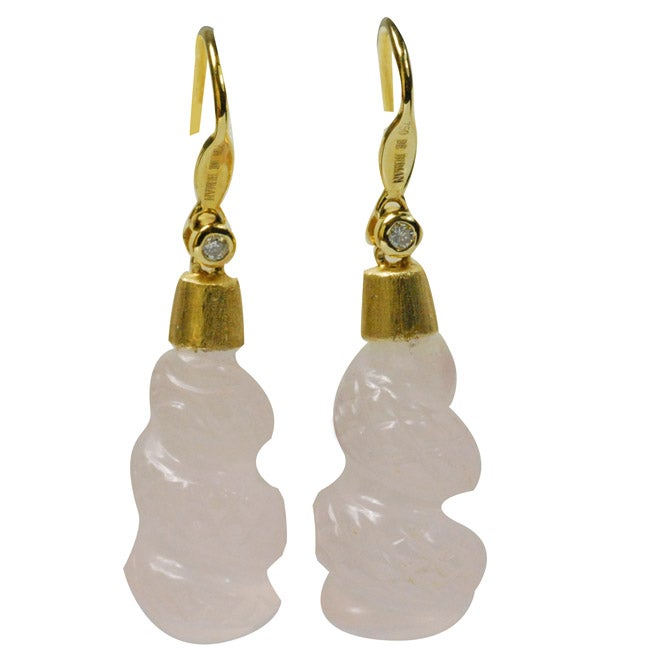 De Buman 18k Yellow Gold Rose Quartz and Diamond Accent Earrings
