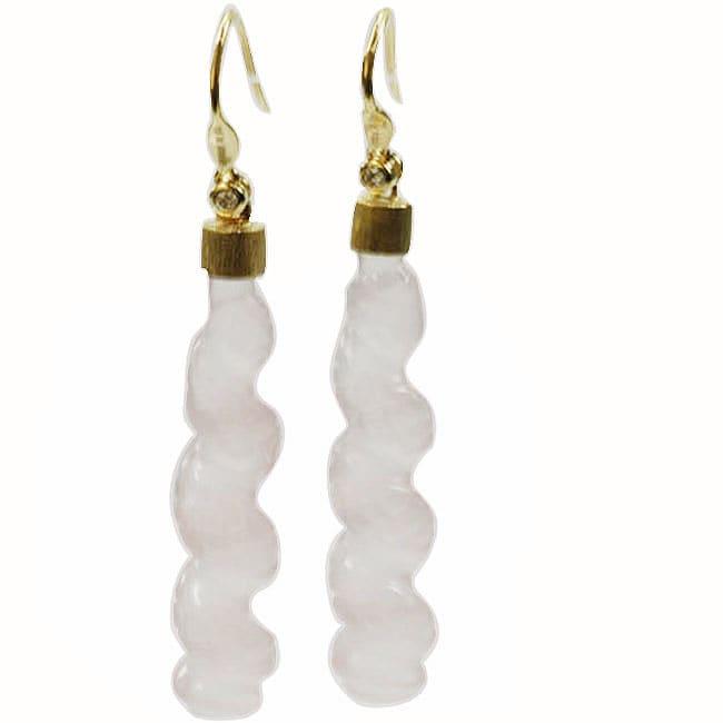 De Buman 18k Yellow Gold Rose Quartz and Diamond Earrings