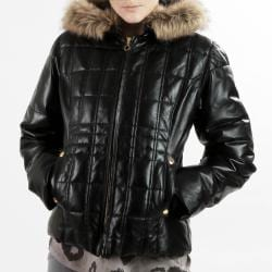 United Face Womens New Black Leather Faux Fur Hooded Down Parka