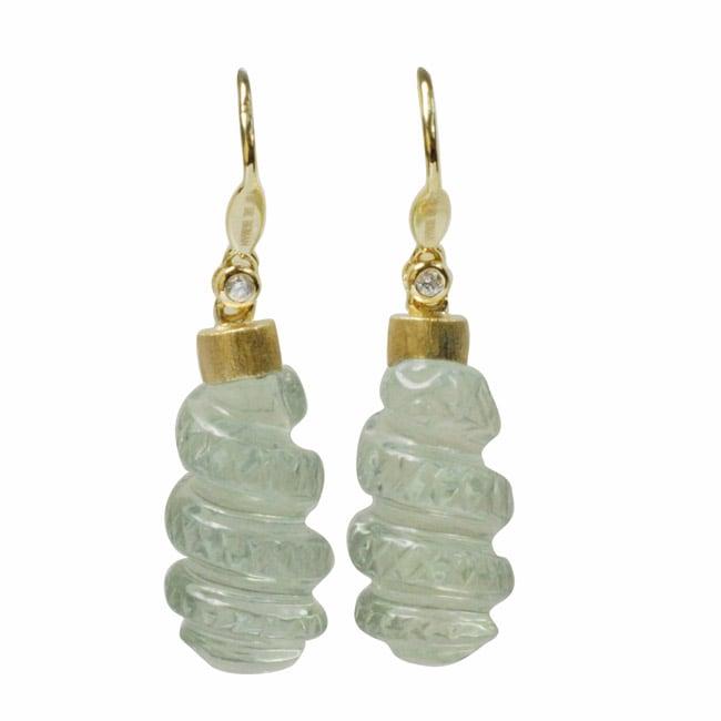 De Buman 18k Yellow Gold Green Amethyst and Diamond Accent Earrings