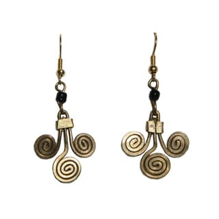 Goldtone Spiral Bead Earrings (Kenya)