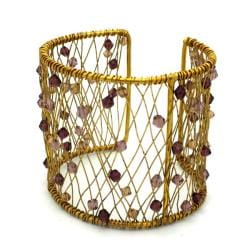 Brass Wire Grape Glass Bead Cuff (India)