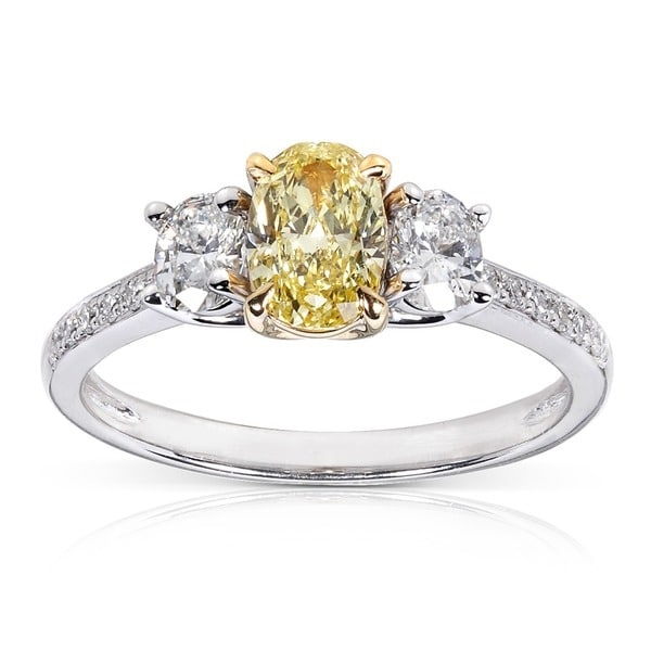 Annello 14k Gold 1 1/10ct TDW Certified Yellow and White Diamond Ring (FY, SI1)