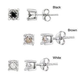DB Designs Sterling Silver White, Black, And Brown 2/5ct TDW Diamond Earrings (Set of 3)