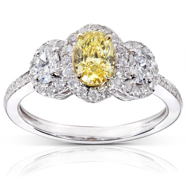 Annello 14k Gold 1 1/3ct TDW Certified Yellow and White Diamond Ring (FY, VS1)