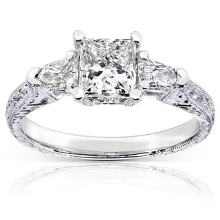 Annello 14k White Gold 1 1/3ct TDW Certified Diamond Engagement Ring (H-I, SI2)