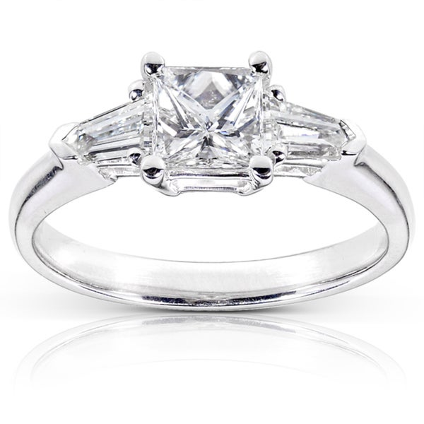 Annello 14k Gold 1 1/10ct TDW Certified Princess Cut Diamond Ring (G, SI1)