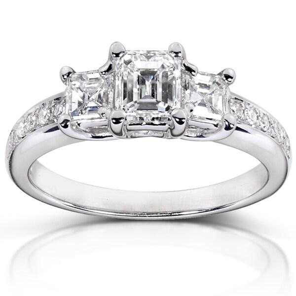 14k White Gold 1 1/5ct TDW Certified Diamond Engagement Ring (H, VS2)