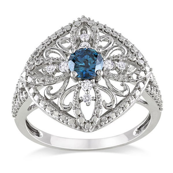 Miadora 10k White Gold 1/2ct TDW Blue Diamond Ring (I1-I2)