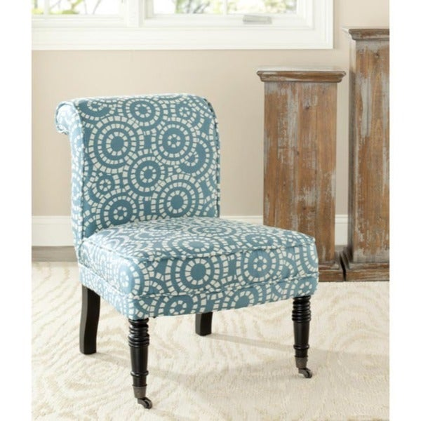 Safavieh Mosaic Blue/ White Polyester Fabric Chair