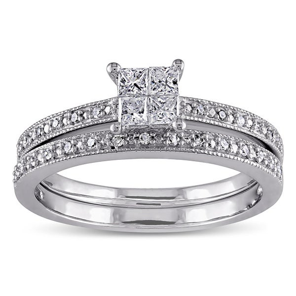 Miadora 10k White Gold 1/3ct TDW Princess-cut Diamond Bridal Ring Set (G-H, I2-I3)