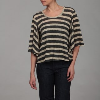 Gossip Girl Women's Oatmeal/ Charcoal Stripe Top