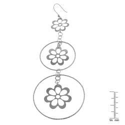 Fremada Rhodiumplated Silver Graduated Flowers/ Rings Dangle Earrings