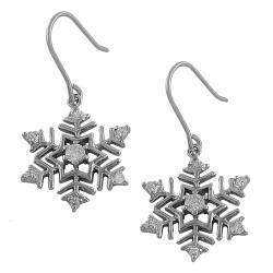 Fremada Rhodiumplated Sterling Silver Cubic Zirconia Snowflake Dangle Earrings