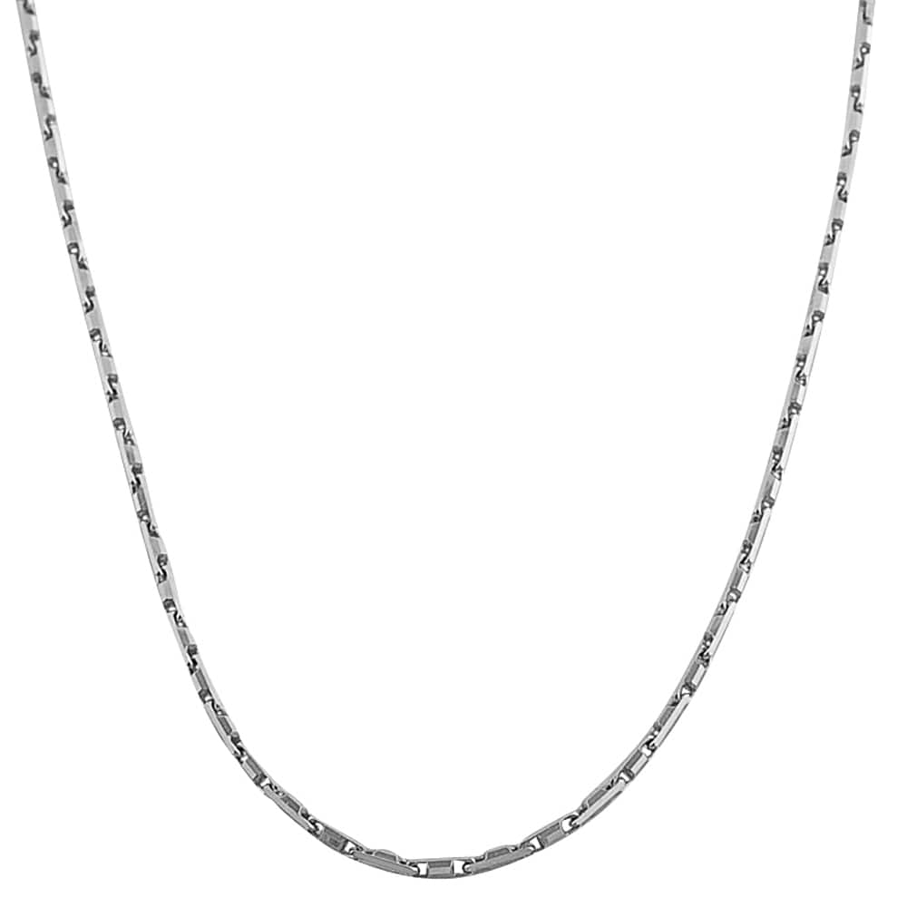 Fremada Rhodiumplated Sterling Silver Square Bar Link Necklace