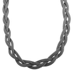 Fremada Rhodiumplated Sterling Silver Braided Mesh Necklace