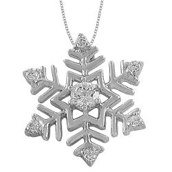 Fremada Rhodiumplated Sterling Silver Cubic Zirconia Snowflake Necklace