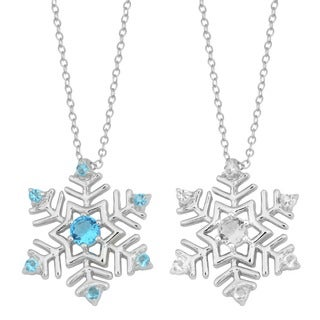 Fremada Rhodium Plated Sterling Silver Cubic Zirconia Snowflake Necklace