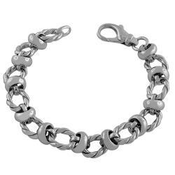 Fremada Rhodiumplated Sterling Silver Twisted Station Link Bracelet
