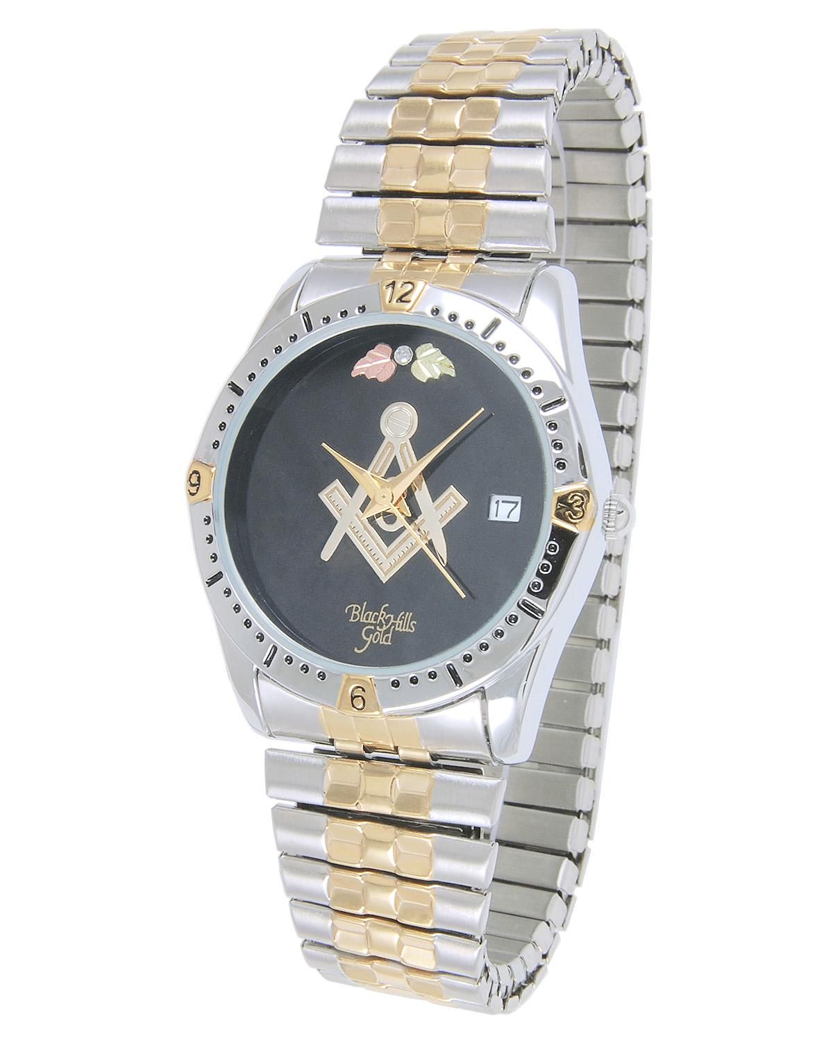 Black Hills Gold Mens Stainless Steel Masonic Watch