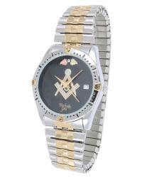 Black Hills Gold Mens Stainless Steel Masonic Watch