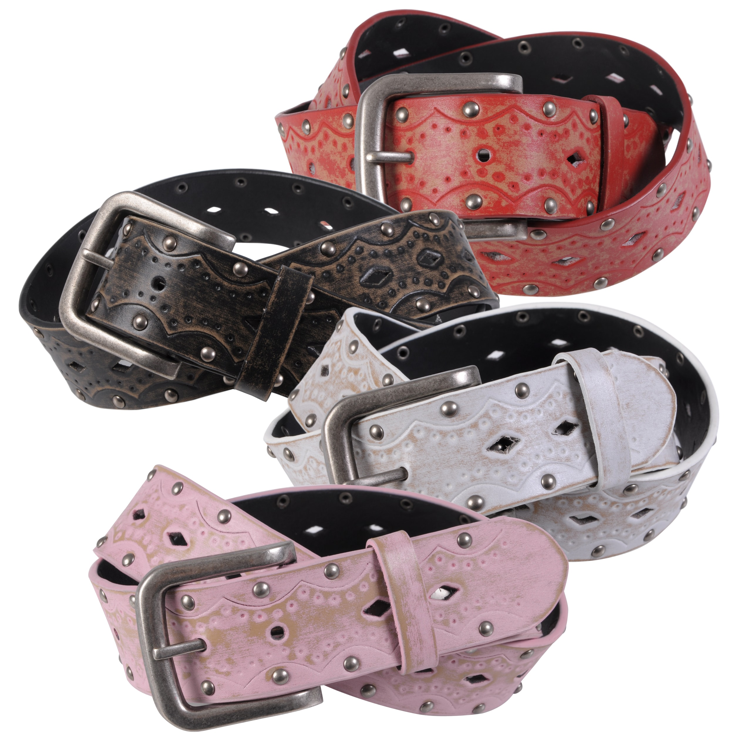 Journee Collection Women's Vintage Embossed Studded Leather Belt
