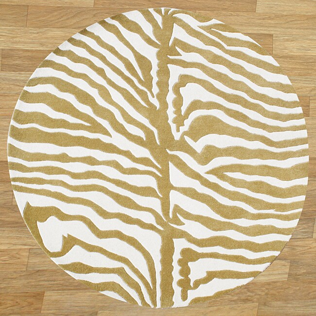 Alliyah Handmade Tufted New Zeeland Blend Safari Olive Green/ Ivory Wool Rug (6' Round)