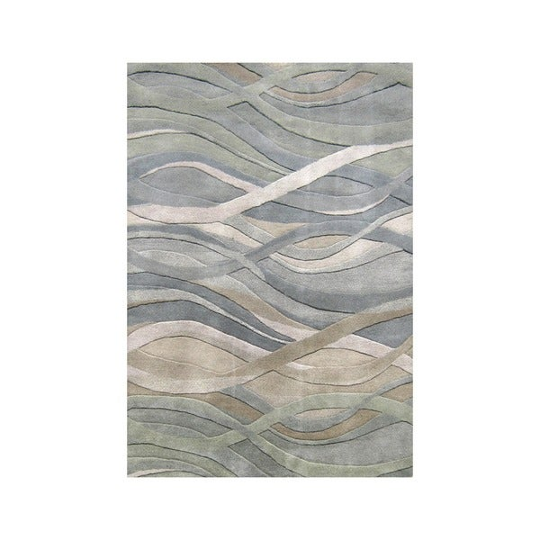 Alliyah Handmade Grey/Green New Zealand Blend Wool Rug (9' x 12')