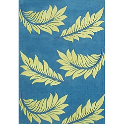 Hand Made Mediterranean Blue Flower New Zealand Wool Rug (5' x 8')