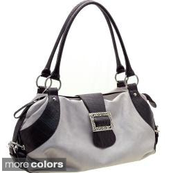 Dasein Two-tone Faux Leather Front Buckle Satchel with Embossed Trim