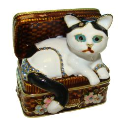 Objet d'art 'Mischief' Cat in a Basket Trinket Box