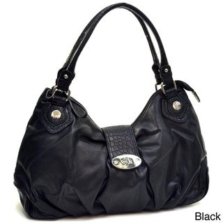 Dasein Faux Leather Turnlock Satchel