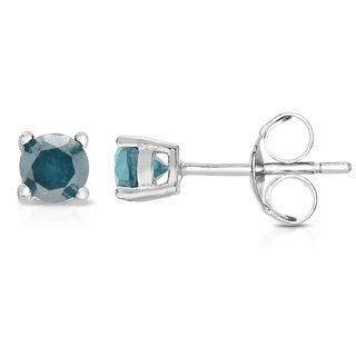 Finesque Sterling Silver 1/5ct TDW Blue Diamond Stud Earrings