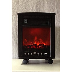 Energy Saver Infrared Dark Walnut Heater with Simulated Fireplace
