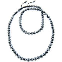 Eternally Haute Hematite Macrame Necklace