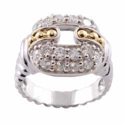 Michael Valitutti Signity Highly Polished 14k Gold and Silver Cubic Zirconia Ring