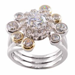 Michael Valitutti Signity 14k Gold and Silver Cubic Zirconia Ring