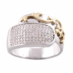 Michael Valitutti Signity 14k Gold and Silver Pave Cubic Zirconia Ring
