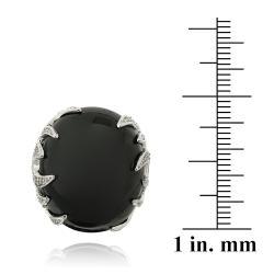 Icz Stonez Rhodiumplated Onyx and Cubic Zirconia Ring