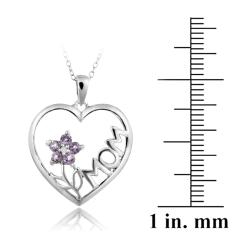 Glitzy Rocks Sterling Silver Diamond Accent Amethyst Heart Necklace