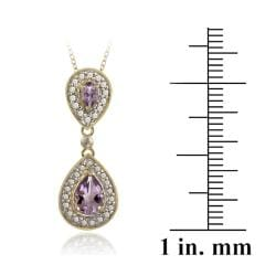 Glitzy Rocks 18k Gold over Silver Diamond Accent Amethyst 1ct TGW Drop Necklace