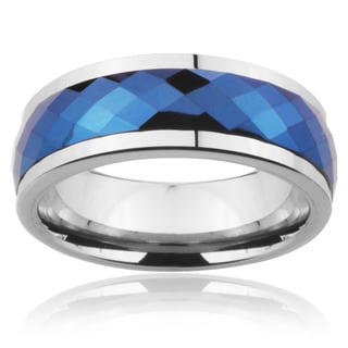 Men's Tungsten Carbide Blue Multi-faceted Spinner Ring (8 mm)