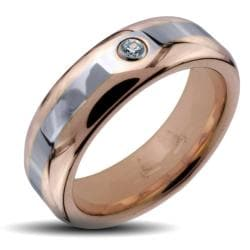 Men's Tungsten Carbide Rose Gold Two-tone Cubic Zirconia Ring (6 mm)