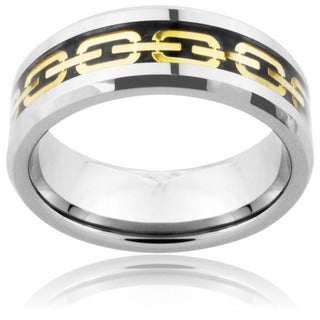 Men's Tungsten Carbide Gold Chain Link Inlay Ring (8 mm)