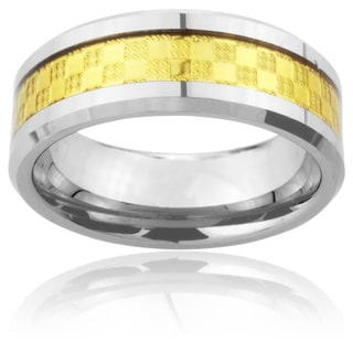 Tungsten Carbide Goldtone Checker Inlay Ring (8mm)