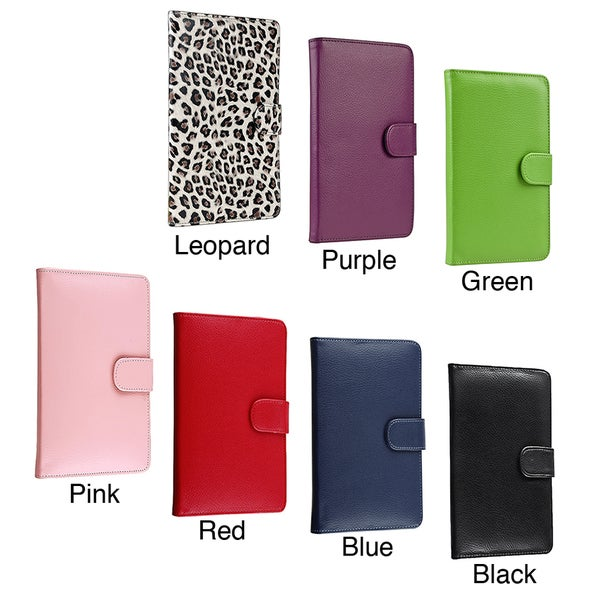 Insten Folio Flip Leather Fabric Case with Button lock/ Card Slot for Amazon Kindle Fire 1/ 2