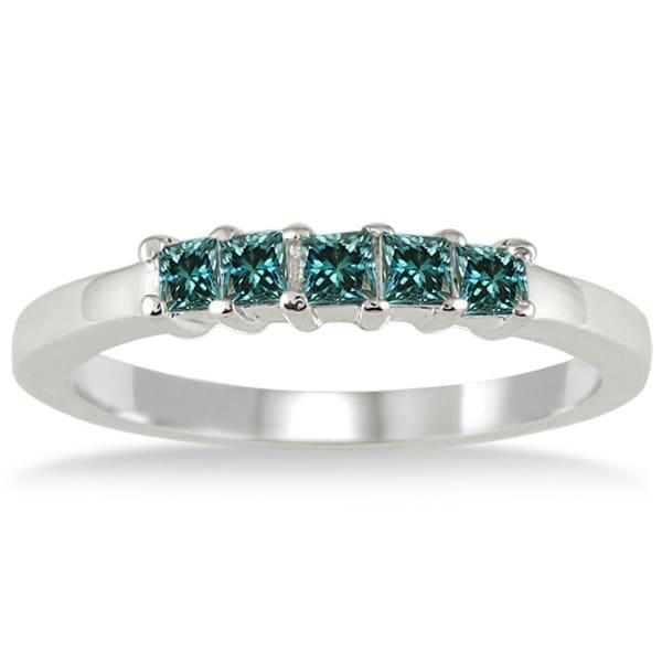 Marquee Jewels 10k White Gold 1/2ct TDW Princess Blue Diamond Wedding Band